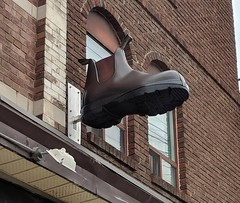 Big shoes to fill... (jmaxtours) Tags: big shoes fill bigshoestofill blundstones blundstone boot storedisplay sign
