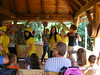 Taboriste Zoo - Croatia (sean and nina) Tags: taboriste petrinja croatia croatian hrvatska balkan balkans outdoor summer 2017eu europe european parents mothers women yellow tee t shirts play song dance drama show people persons indoor inside candid perform performance performing fun happy event hats dress up tables wood wooden house hut female girls june 2017 nina wife smiling
