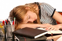 sleeping student (cfdtfep) Tags: girl study sleep young woman teenager teen pretty beautiful blonde studying learning school college university student class classroom book notebook knowledge education smart clever lazy tired sick upset annoyed headache circleundereyes worry worried stress fatigue exhausted exhaustion nervous confused sleepless arm insomnia desk horizontal lying portrait resting sitting