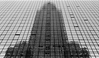 Chrysler building, block by block, b&w film