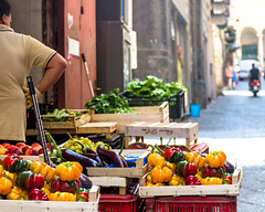 Fruits and Vegetables in Naples Italy (Daveyal_photostream) Tags: vegetables d600 nikon nikor naples igitaly vacation travel man italy streetphotography beautiful meandmygear mygearandme mycamerabag motion movement men bokeh crates peppers arcitecture people motorcycle redpeppers streets street streetsofnaples fruit lettuce eggplant peaches yellowpeppers