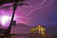 Light Up Your Life (nataliehampel) Tags: strike storm longexposure qld aus oz australia island lindeman queensland yellow purple nature water ocean jetty lighting seascape landscape