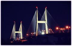 The Talmadge Memorial Bridge. Savannah, GA (bobchesarek) Tags: bridge talmadgememorialbridge savannahriver hutchinsonisland cablestayedbridge savannahga befunky