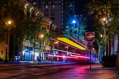 vta on 1st at east san carlos street (pbo31) Tags: bayarea california southbay santaclaracounty nikon d810 color april spring 2018 boury pbo31 lightstream traffic roadway motion night dark black vta transit downtown infinity sanjose motionblur pink reflection yellow