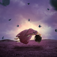 Fly dream (Kathy Chareun) Tags: art arte fineart ps photoshop lr lightroom dress vestido hair pelo woman mujer femme girl chica butterfly mariposa sky cielo soul alma violet lila purple purpura violeta fly volar day dia clouds nubes grass pasto field campo surreal surrealism surrealismo surrealistic surrealista