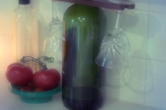 Almost Gone: wine and olive oil! (Carol (vanhookc)) Tags: wine stilllife tomatoes wineglasses oliveoil