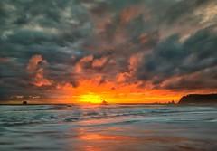 Sun's Adieu (Philip Kuntz) Tags: sunset dusk evening sundown beach coast waves reflections storm stormyskies rialtobeach olympicnationalpark lapush washington seastacks seascape