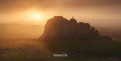 Perigee Moment (http://www.richardfoxphotography.com) Tags: haytorvale haytor haytordown lowmansrock lowmans sunrise summersolstice summer fog foggy mist misty panorama dartmoornationalpark dartmoorlandscape dartmoor