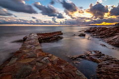 Somewhere on the french riviera (mikaouette83) Tags: nature longexposure sky clouds sun sunset france frenchriviera water sea