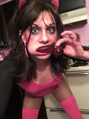 Stefani Slutty (stefani_slutty) Tags: stefani slutty slut prostitute hooker whore pink leotard thigh high stockings pantyhose pussy kitty cat ears yoga dildo suck cock blow job large hoop earrings