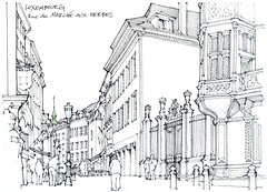 Luxembourg, rue du Marché aux Herbes (gerard michel) Tags: luxembourg rue sketch croquis