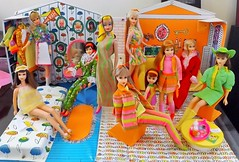 SO 1967! (ModBarbieLover) Tags: barbie 1967 skipper chris tutti casey francie mod house family bright orange green pink colour magic doll vintage mattel chairs bedroom living room 1968 1970 1973