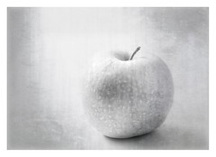 An Apple A Day... (Daniela 59) Tags: 7dwf 7dayswithflickr crazytuesdaytheme apple textures bw workingwithtextures fruitsinbw danielaruppel