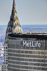 NYC - Views from Top of the Rock/30 Rock - MetLife and Chrysler Building (David Pirmann) Tags: skyline skyscraper 30rock topoftherock nyc newyorkcity metlifebuilding chryslerbuilding