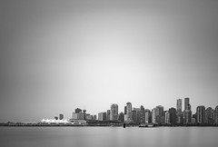 Quiet morning (Natal...) Tags: longexposure bw urban cityscape britishcolumbia peaceful canadaplace water vancouver city outdoor quiet skyline minimalistic downtown