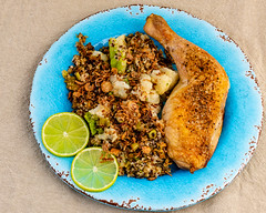 Sunday dinner. Roast chicken maryland with leftover quinoa and vegetables. (garydlum) Tags: chicken belconnen lime quinoa limejuice friedshallots springonions worcestershiresauce broccoli canberra chickenmaryland cauliflower australiancapitalterritory australia au