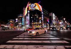 Tokyo at Night in Japan (` Toshio ') Tags: toshio tokyo japan ginza asia japanese street crosswalk car neon downtown night traffic city fujixt2 xt2 taxi