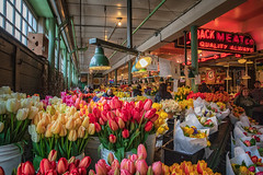 Quality Always (KPortin) Tags: farmersmarket seattle tulips flowers lobackmeatco signs