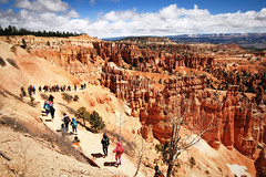 Japanese Tour At Sunset Point (dorameulman) Tags: dorameulman utah brycecanyon canyon mountains sky clouds japanesetour story landscapephotography landscape hike canon7dmark11 canon sculpture nature redrocks rocks red tour people mountain