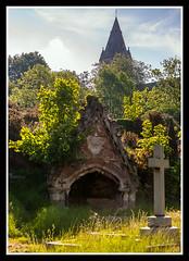 Grave and Tower (veggiesosage) Tags: nottingham aficionados gx20 rockcemetery churchcemetery cemetery graveyard tamronaf1750mmf28xrdiiild