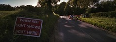 Farlington. (christopherhogg1) Tags: chrishoggsphotos farlington road roadworks sign lights treesyorkshire valeofyork