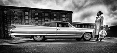 Boot Space Relativity (p.g604) Tags: classiccarsvintagefairkingscrossgranarysquareapril2018 20180428imgp2726edit boot space relativity pentax k1 wideangle bw blackwhite gritty grainy 1961 cadillac coupe deville
