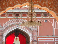jaipur colors (5) (kexi) Tags: jaipur rajasthan india asia rajput grandpalace old ancient interior orange pink red chandelier museum samsung wb690 february 2017 arches pinkcity instantfave