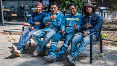2018 - Mexico City - Boys on Break (Ted's photos - Returns Late November) Tags: 2018 cdmx cityofmexico cropped mexico mexicocity nikon nikond750 nikonfx tedmcgrath tedsphotos tedsphotosmexico vignetting boys men pose posing denim denimjeans workers ballcap seating seats seated sitting group gents glasses bottle onebottle shadow hoodie boots legs feet smiles smiling cigarette smoker smoking streetscene street shadows faces