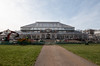 opening soon (Francis Mansell) Tags: glasshouse greenhouse temperatehouse kew building architecture refurbishment grass path roof glass digger sky kewgardens royalbotanicgardenskew