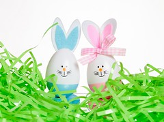 Easter Fun (Karen_Chappell) Tags: easter holiday green blue pink pastel white stilllife product egg eggs bunny rabbit decoration decor grass cute spring