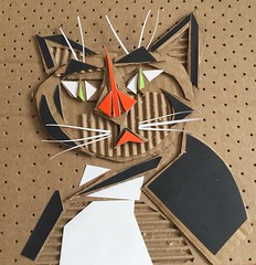 recycled cardboard cat (Benedicte Delachanal) Tags: cardboard recycled art