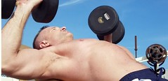 incline bench press db (ddman_70) Tags: shirtless pecs chest gym outdoor workout benchpress muscle