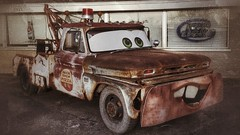 sir tow mater visits clinton,IA....(HTT) (BillsExplorations) Tags: truck rust mater sirtowmater cars old pizza display clinton iowa truckthursday towtruck chevy oldtruck larrythecableguy budlight restaurant
