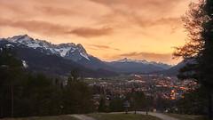 Garmisch-Partenkirchen Sunset (redfurwolf) Tags: sunset mountains landscape sky garmischpartenkirchen germany outdoor nature panorama view city redfurwolf sonyalpha a7riii sonyimaging sal2470f28za dawn