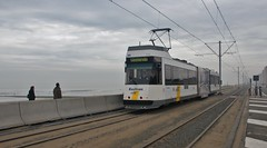 Belgian Coastal Tramway 6046 heading south from Ostend, 11th. April 2018. (Crewcastrian) Tags: ostend belgiancoastaltramway trams transport publictransport 6046