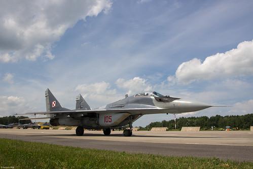Polish Air Force MiG-29A 105 taxiing out at Malbork AB