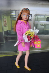 9. Off to the matinee (Foxy Belle) Tags: subway doll barbie diorama 16 scale chilly chums vintage titian skipper flowers bouquet calendar
