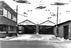 London transport Carshalton trolleybus depot 1950's. (Ledlon89) Tags: londontransport garage depot bus buses trolleybuses trolleybus lt lte lptb londonbus londonbuses buildings londontrolleybus trolleybusoverhead