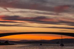 Bridging the gap... (Sudipta.B) Tags: canon sudiptabphotography loch alsh eilean bàn isle skye scotland uk sunset colors bridge boats sky silhouette europe eurotrip backpack