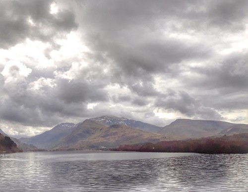 Rain clouds over Snowdonia mountains.