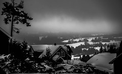 A house with a view (evakongshavn) Tags: 7dwf bw blacknwhite new light bnw bnwphoto outside outdoors landscape landschaft paysage myview mist mistshot fog foggyday snow winter winterwonderland winterlandscape biancoenegro