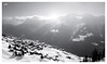 Goodbye winter (VandenBerge Photography #goneforawhile) Tags: valais switzerland mountains alps riederalp blackandwhite mono light sun winter season landscape snow snowscape village aletscharena europe nature nationalgeographic pov canon sky clouds