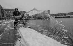 Snowblower (FleetingEye) Tags: 2018 path usa blackandwhite winter street people city cityscape fleetingeyephotography snow streetscape snowblower man dock outside shovel scenic frozen baltimore fellspoint bw maryland water ice