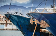 twins ships (Nick Frantzeskakis) Tags: blue ship twins sea pier kalamata messinia peloponnese greece anchor mountain taygetos two white steel metal