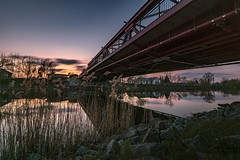 Eisenhüttenstadt (karstenlützen) Tags: germany brandenburg eisenhüttenstadt sunset bluehour landscape river bridge reflections mirrored sigma1020f35 ilca77m2 haidand sonyflickraward
