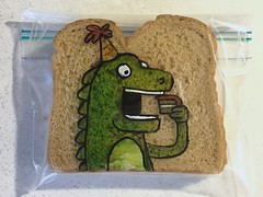 Birthday Party (D Laferriere) Tags: party green bostoncreampie birthday attleboro laferriere dinosaur creature sandwich bag art sharpie