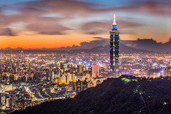 Light and Shadow 無相光中弄影人 (Sharleen Chao) Tags: taipei101 skyline landscape skyscraper 台北101 台灣 風景 拇指山 cityscape city canon canoneos5dmarkiii longexposure building 流雲 clouds 101 glow urban nightscene outdoor horizontal nopeople 70200mm bluehour tone afterglow clear night taiwan taipei capitalcity