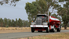 Diamond T Double (2) (Jungle Jack Movements (ferroequinologist)) Tags: winton crawlin crawling hume classic restored veteran vintage vic victoria diamond t rio brake wheel exhaust loud rumble beast hood hp horsepower gear oil haul haulage freight cabover trucker drive transport carry delivery bulk lorry hgv wagon road highway nose semi trailer double b deliver cargo interstate articulated vehicle load freighter ship move roll motor engine power grunt teamster truck tractor prime mover diesel injected driver cab cabin fast taker esso petrol