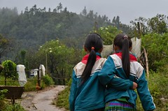 Walking home from school (SER street photography) Tags: vietnam school girls schoolgirls street streetphotography pair match twins matching