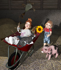 sisters (Hypnotic Fashion Blog) Tags: kids pose pig girls secondlife sl flower flowerpower wheelbarrow shadow